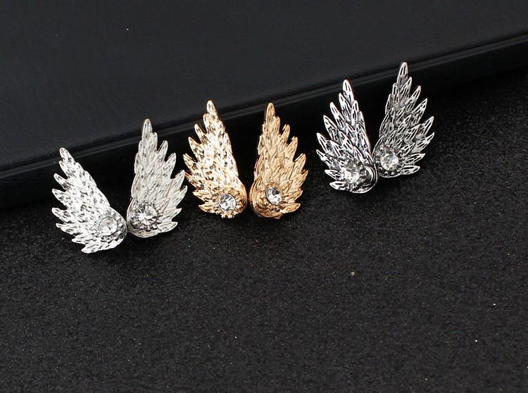 欧美外贸 复古立体天使翅膀耳钉耳环 羽毛镶钻合金