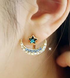 夸张个性水钻月亮星星五角星耳钉耳环韩国饰品耳饰