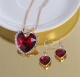 奢华心形奥地利水晶锆石耳环项链首饰套装女 跨境欧美婚礼晚宴