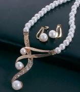 饰品珍珠项链耳环套装两件套 欧美跨境个性珍珠锁骨项链
