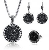 wish平台款首饰套装 时尚黑色戒指 项链耳环 三件套装