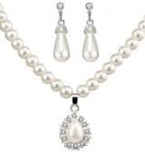 wish平台款首饰套装 时尚珍珠项链耳环耳钉套装