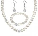 wish平台款首饰套装 时尚珍珠满钻球项链耳环耳钉套装