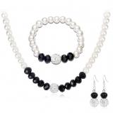 wish平台款首饰套装 时尚珍珠水晶满钻球项链耳环耳钉套装
