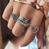 欧美爱心花朵镶钻套戒6件套装组合戒指