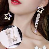 S925银针欧美不对称珍珠五角星流苏长款气质耳钉