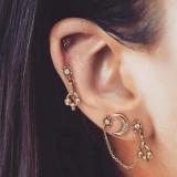 欧美个性合金月亮镶钻链条不对称耳环