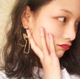 欧美设计几何夸张潮复古女孩轮廓耳环油画风简约抽象人脸气质耳钉