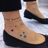 欧美手工制作流行时尚个性新女式爱心多层脚链组合套装饰品