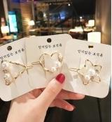 韩国INS简约复古百搭几何珍珠水钻小发夹