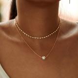 欧美多层简约珍珠水钻爪链项链