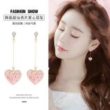 韩国时尚甜美亮片爱心气质网红长款耳钉