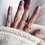 欧美时尚流行个性几何镂空四件套戒指