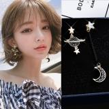 S925银针韩国创意个性星星月亮不对称黑色星球长款耳钉