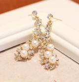 韩国时尚新娘婚纱气质人造珍珠镶钻长款耳钉