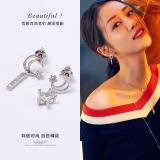 S925银针韩国星星月亮精致锆石耳钉