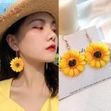 韩国东大门向日葵花朵长款夏日度假风耳环