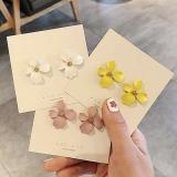 韩国彩色花朵小清新喷漆耳钉