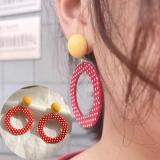 韩国复古红色波点圆环撞色耳钉