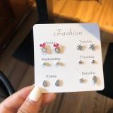 韩国可爱学生蝴蝶结花朵水滴枫叶一周套装耳钉