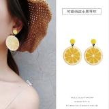 韩国个性百搭水果柠檬潮夏季长款耳钉