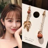 韩国简约个性不对称森女系复古风树叶耳夹