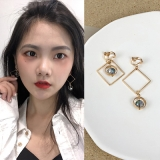 韩国个性圆圈方块不对称耳夹