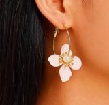 韩国网红气质长款个性夸张花朵耳环
