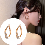 S925银针欧美潮人几何方形夸张大气酷女孩标配耳钉