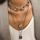 欧美跨境夸张金属朋克链条镶钻锁形几何长款项饰