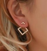 欧美个性时尚简约创意金属几何镂空菱形方块气质百搭耳钉