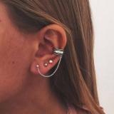 欧美流行简约时尚复古古银耳夹耳钉组合套装女式新款