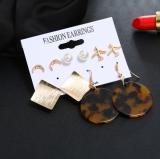 欧美珍珠月亮金色飞机方块个性多件套五件套组合套装耳钉耳环耳坠