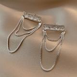 S925银针韩国几何气质高级大气网红流苏个性新款潮时尚耳钉