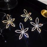 S925银针韩国设计感闪钻花朵气质网红夸张大气耳钉耳环女