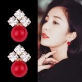 S925银针韩国红珍珠优雅时尚气质超闪钻耳钉女