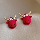 S925银针韩国立体动物红色卡通小牛可爱气质网红新年耳钉女